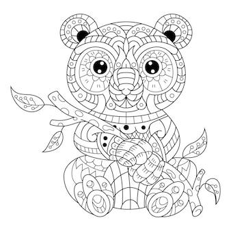 Hand drawn of panda in zentangle style