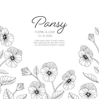 Нарисованная рукой иллюстрация цветочной поздравительной открытки анютиных глазок с линией искусства на белом фоне.