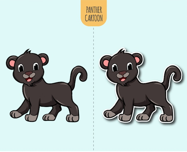 Hand drawn panther cartoon illustration with sticker design option