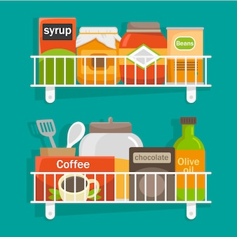 Hand drawn pantry illustrated
