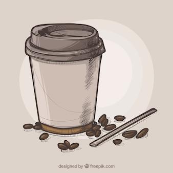 Ручной обращается бумаги кофейный фон