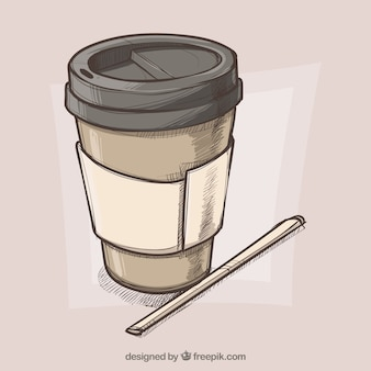 Hand drawn paper coffee cup background