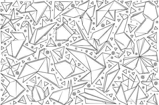 Hand drawn paper origami.