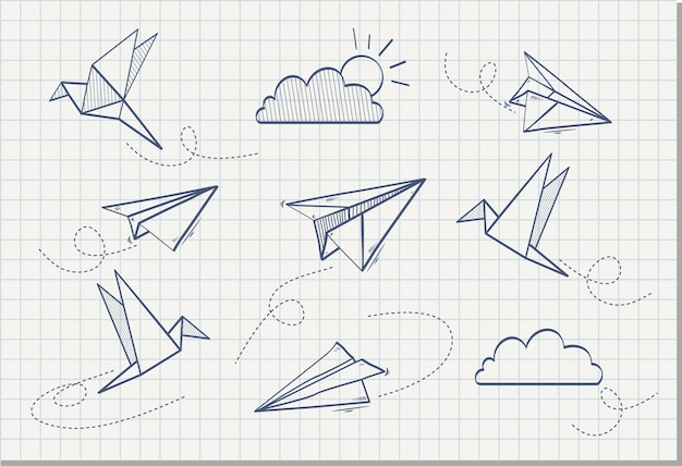 Hand drawn of paper plane with paper bird , vector illustration