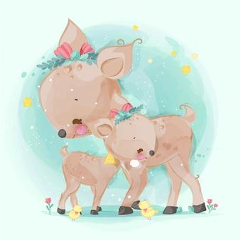 Hand drawn parade the cute animals. vector illustration