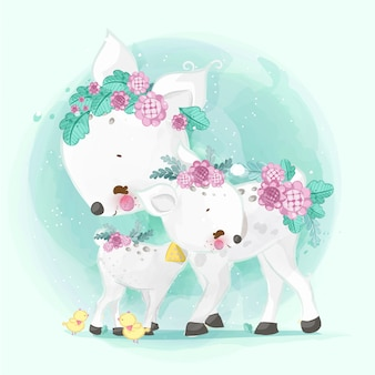 Hand drawn parade the cute animals. vector illustration