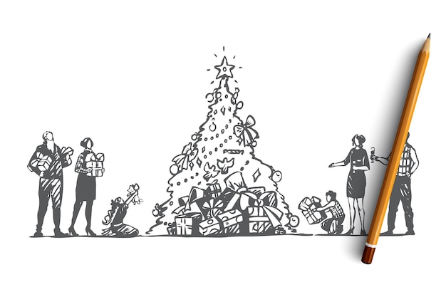 손으로 그린 부모, 조부모와 크리스마스 트리 개념 스케치 근처 선물
