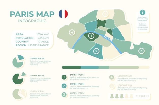 Нарисованный рукой шаблон инфографики карты парижа