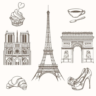 Hand drawn paris symbols. french tourism and tower eiffel, notre dame and croissant icons. hand drawn paris signs vector illustration
