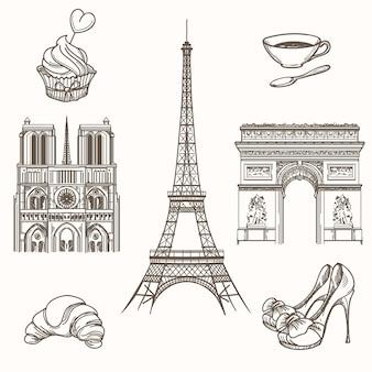 Simboli di parigi disegnati a mano. turismo francese e icone della torre eiffel, notre dame e croissant. illustrazione disegnata a mano di vettore dei segni di parigi