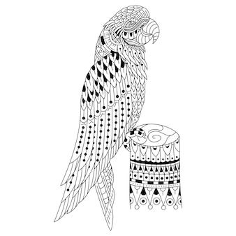 Hand drawn of parrot in zentangle style