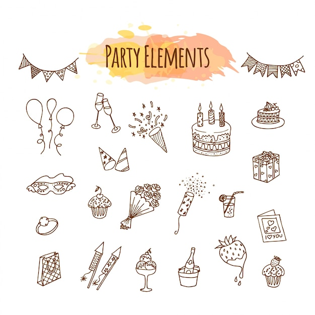 Hand drawn party decorations and elements.
