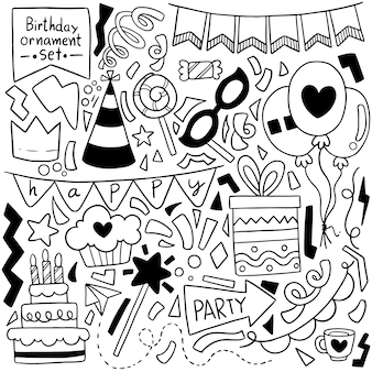 Hand drawn party doodle happy birthday cartoon