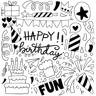 Hand drawn party doodle happy birthday ornaments background pattern illustration