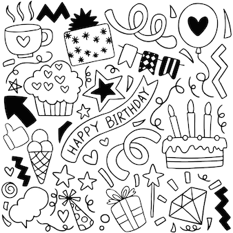 Hand drawn party doodle happy birthday ornaments background pattern