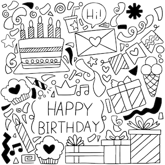 Hand drawn party doodle happy birthday ornaments background patternflag