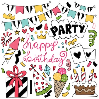Hand drawn party doodle happy birthday ornaments illustration