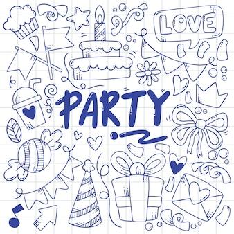 Рисованной партии каракули с днем рождения украшения иллюстрации