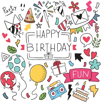 Hand drawn party doodle happy birthday ornaments pattern illustration