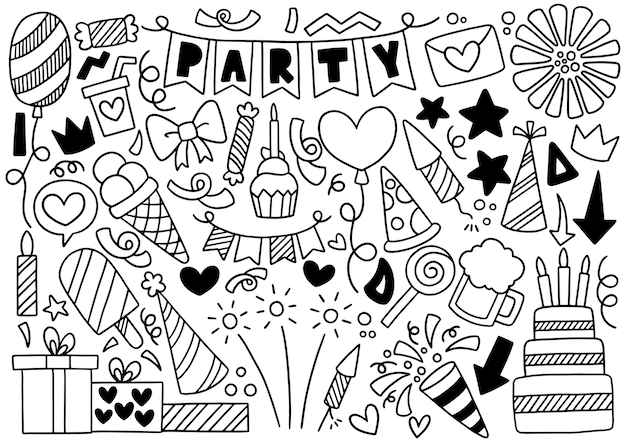 Hand drawn party doodle happy birthday ornaments