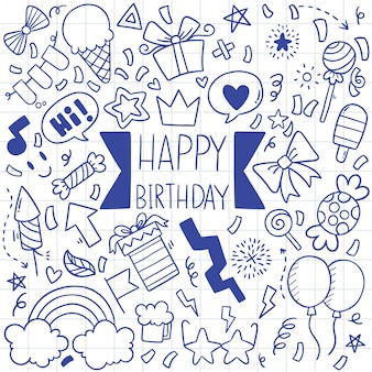 Hand drawn party doodle happy birthday pattern illustration