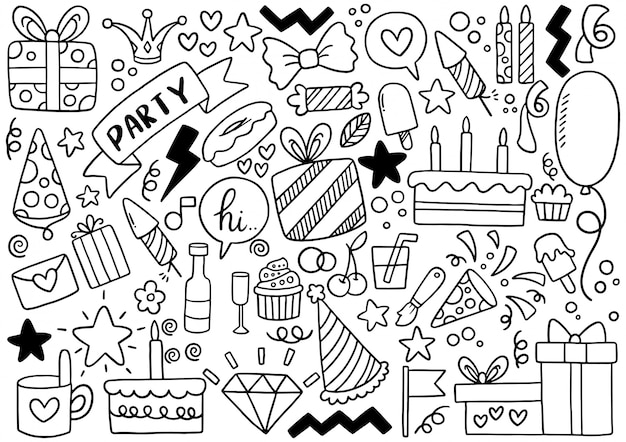 Hand drawn party doodle happy birthday