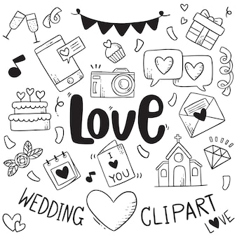 Hand drawn party doodles element wedding element background pattern