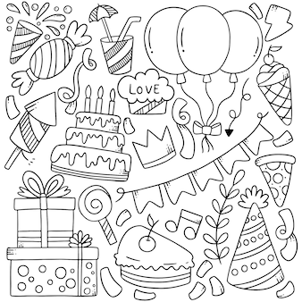 Hand drawn party doodles elements