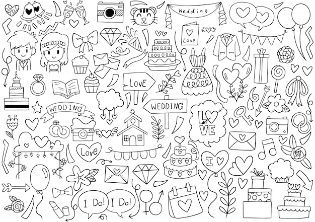 Hand drawn party doodles wedding element