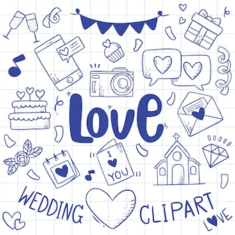 Рисованной партии каракулей свадебный элемент