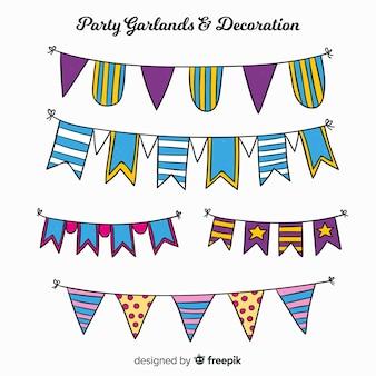 Hand drawn party garland set
