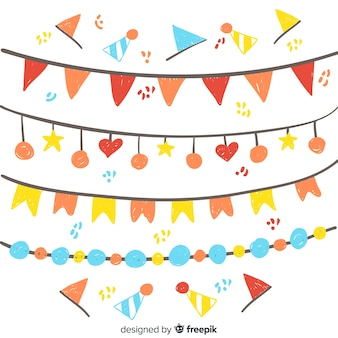 Hand drawn party garland set