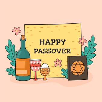 Hand-drawn passover celebration