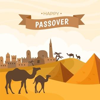 Hand drawn passover illustration in egypt