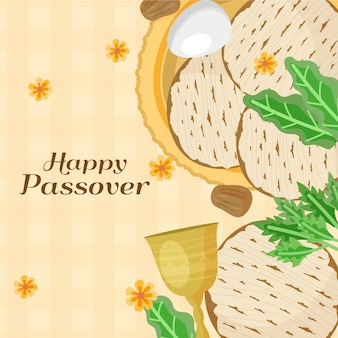 Hand drawn passover meal and lettering
