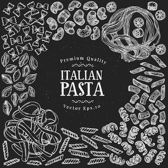 Hand drawn pasta design template. vector pasta kinds illustrations on chalk board. vintage food background