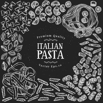 手描きのパスタデザインテンプレートです。チョークボード上のパスタの種類のイラストをベクトルします。ヴィンテージ食品の背景