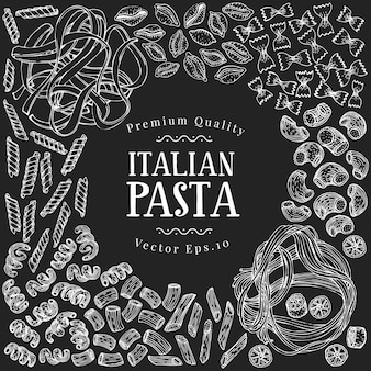 Hand drawn pasta design template.