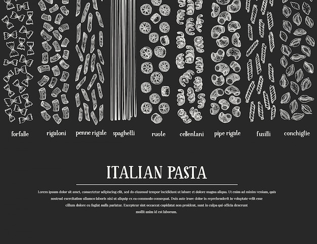Hand drawn pasta design