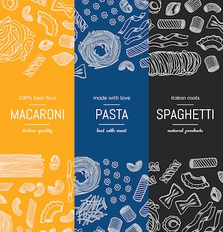 Hand drawn pasta types vertical banner poster templates