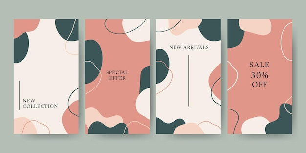 Hand drawn pastel abstract shape instagram stories template editable