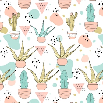Hand drawn pastel cactus pattern template