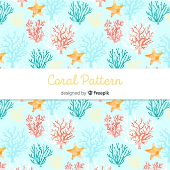 Hand drawn pastel color coral background