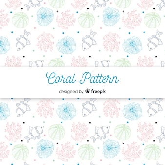 Hand drawn pastel color coral pattern