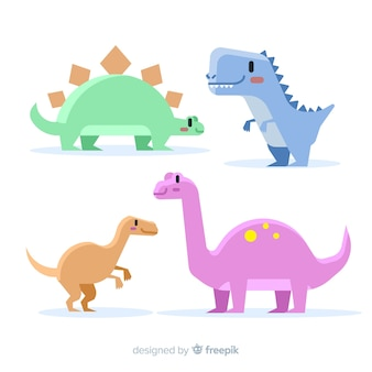 Hand drawn pastel color dinosaur collection