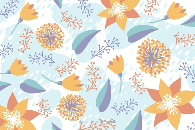 Hand drawn pastel color floral background