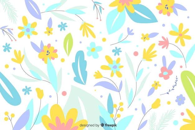 Hand drawn pastel color flowers background