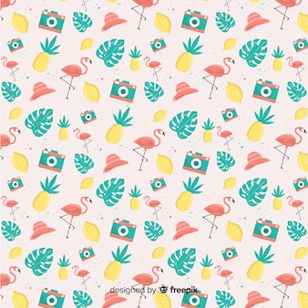 Hand drawn pastel color summer elements pattern