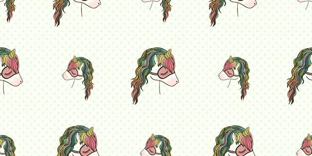 Hand drawn pastel colors unicorn seamless pattern.
