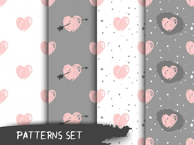 Hand drawn pastel grunge patterns with hearts